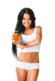 Young women with the glass of juice. Beautiful young women with the glass of juice on white Stock Photos