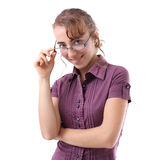 Young women with glasses Stock Images