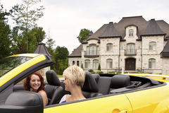 Young women going for a joy ride royalty free stock photography