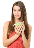 Young women with green cup Stock Photo