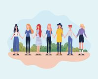 Young women group standing in the camp. Vector illustration design vector illustration