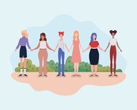 Young women group standing in the camp. Vector illustration design stock illustration