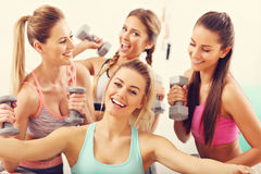 Young women group taking selfie at the gym after workout Royalty Free Stock Image