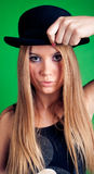Young woman with hat stock photography