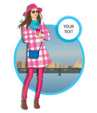 Young  women in a hat  casual clothes on city background. Beautiful young  women in a hat in a casual clothes on city background Vector hand drawn  illustration Royalty Free Stock Photography