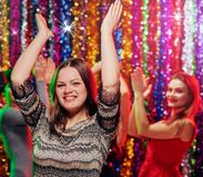 Dance women holidays party. Young women having dance party in night club Royalty Free Stock Photo