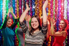 Dance girls party. Young women having dance party in night club Stock Photos