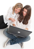 Young women having fun with laptop Stock Images