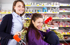 Young women having fun shopping  Stock Photos