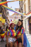 Madrid, Spain; July 06, 2019: Young women during the celebrations of gay pride day royalty free stock photography