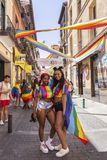 Madrid, Spain; July 06, 2019: Young women during the celebrations of gay pride day stock photography
