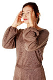 Young women having a headache. Royalty Free Stock Photography