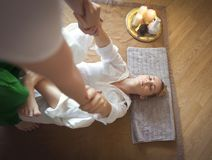Young woman having massage treatment Royalty Free Stock Photos