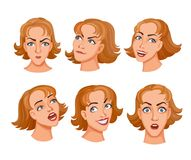 Young women heads. Sat of cartoon young women face expresses emotions. Different expressions of female faces. Facial expressions with offense, amazement, humor Stock Images
