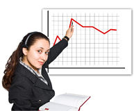 Young women with headset showing red diagram Stock Photos