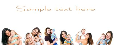 Young women with her baby set Royalty Free Stock Image