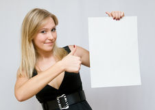 Young women holding blank paper Stock Photos
