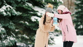 Young women holding candlelight outdoors on beautiful winter snow day and having fun stock footage