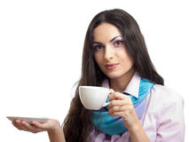 Young women holding coffee cup Stock Photography