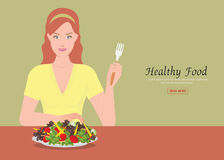 Young women holding fork to eating salad on the table. Royalty Free Stock Photo