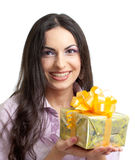 Young women holding gift or present Stock Image