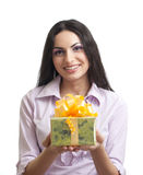 Young women holding gift or present Stock Photography