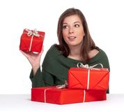 Young women holding red giftbox Stock Image