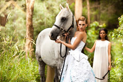 Young Women with Horse Stock Photo
