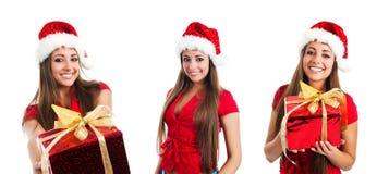 Young Women In Santa Claus Hat Photos Stock Photos