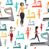 Young women involved in sports. They shall run on the treadmill, lift weights. Textile seamless pattern flat cartoon style Royalty Free Stock Photography