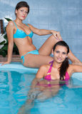 Young women in jacuzzi Stock Photography