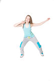 Young Women in joggers dancing and having fun Royalty Free Stock Photos