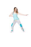 Young Women in joggers dancing and having fun Royalty Free Stock Images
