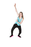 Young Women in joggers dancing and having fun Stock Images