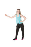 Young Women in joggers dancing and having fun Stock Photo