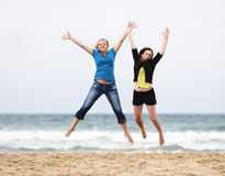 Young women jump Royalty Free Stock Photography