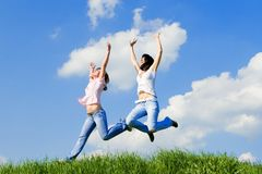 Young women is jumping Royalty Free Stock Images