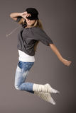 Young women jumping during her dance Royalty Free Stock Images