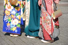 Young women in kimono royalty free stock images