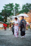 Young women in kimono dress Royalty Free Stock Photos