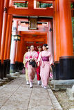 Young women in kimono dress. At Fushimi Inari Shrine in Kyoto Japan (during on new year eve). Photo taken on: April 03rd, 2014 Royalty Free Stock Photos