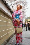 Young women in kimono dress Stock Photography
