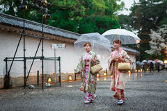 Young women in kimono dress. At Nijo Castle in Kyoto Japan Royalty Free Stock Images