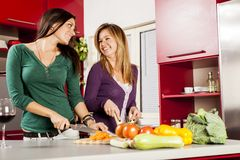 Young women in the kitchen. Happy young women in the kitchen Stock Images