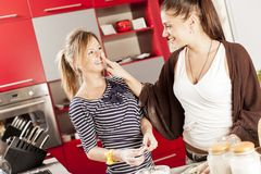 Young women in the kitchen. Prety young women in the kitchen Royalty Free Stock Image