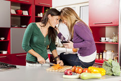 Young women in the kitchen Royalty Free Stock Images