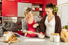 Young women in the kitchen. Young women preparing meal in the kitchen Royalty Free Stock Photo
