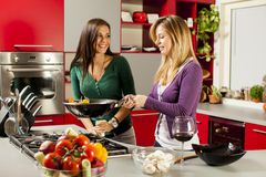 Young women in the kitchen. Pretty young women preparing meal in the kitchen Stock Image
