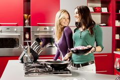 Young women in the kitchen. Young women preparing meal in the kitchen Stock Images