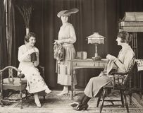 Young women knitting at home Royalty Free Stock Image